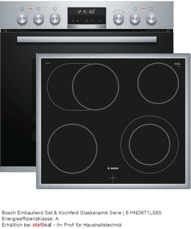 Bosch Einbauherd Set & Kochfeld Glaskeramik Serie | 6 HND671LS65