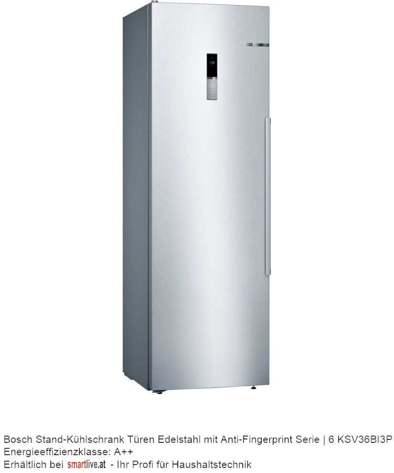Bosch Stand-Kühlschrank Türen Edelstahl mit Anti-Fingerprint Serie | 6 KSV36BI3P