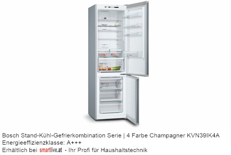 Bosch Stand-Kühl-Gefrierkombination Serie   4 Farbe Champagner KVN39IK4A